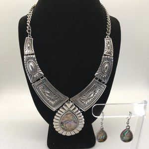 Silver and Abalone Necklace w/ matching earrings